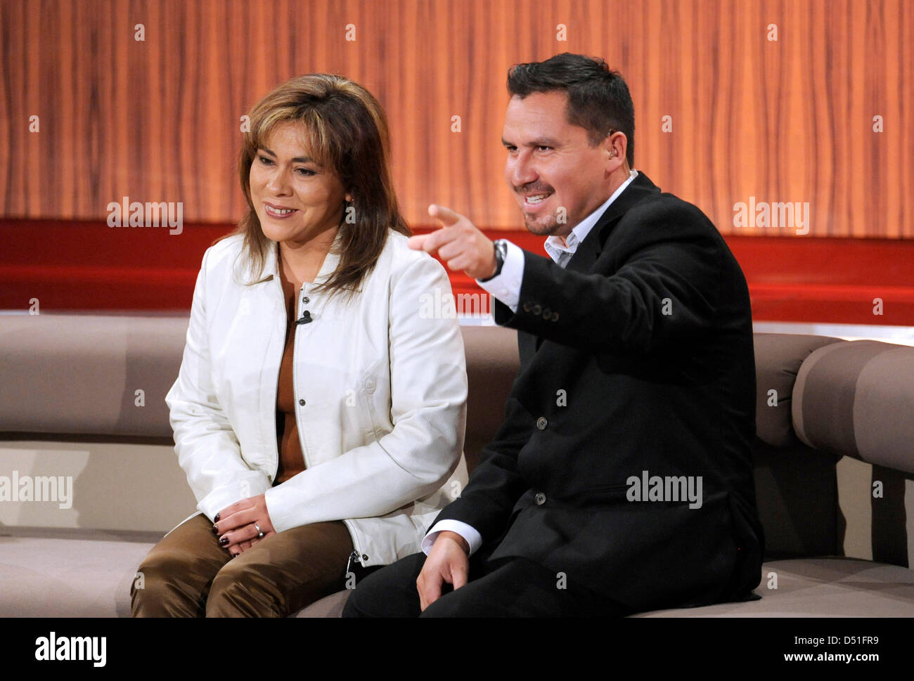 Edison Pena and his wife Angelica Alvarez talk during the recording of the German TV show 'People 2010' at the Bavaria Stock Photo