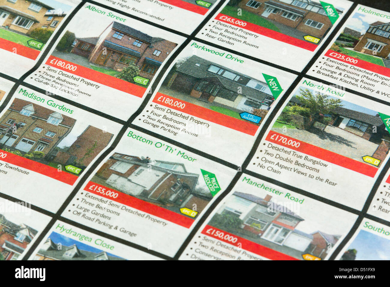 Low to mid range priced residential property adverts in the Bolton News , a daily  local newspaper in Lancashire. - Stock Image