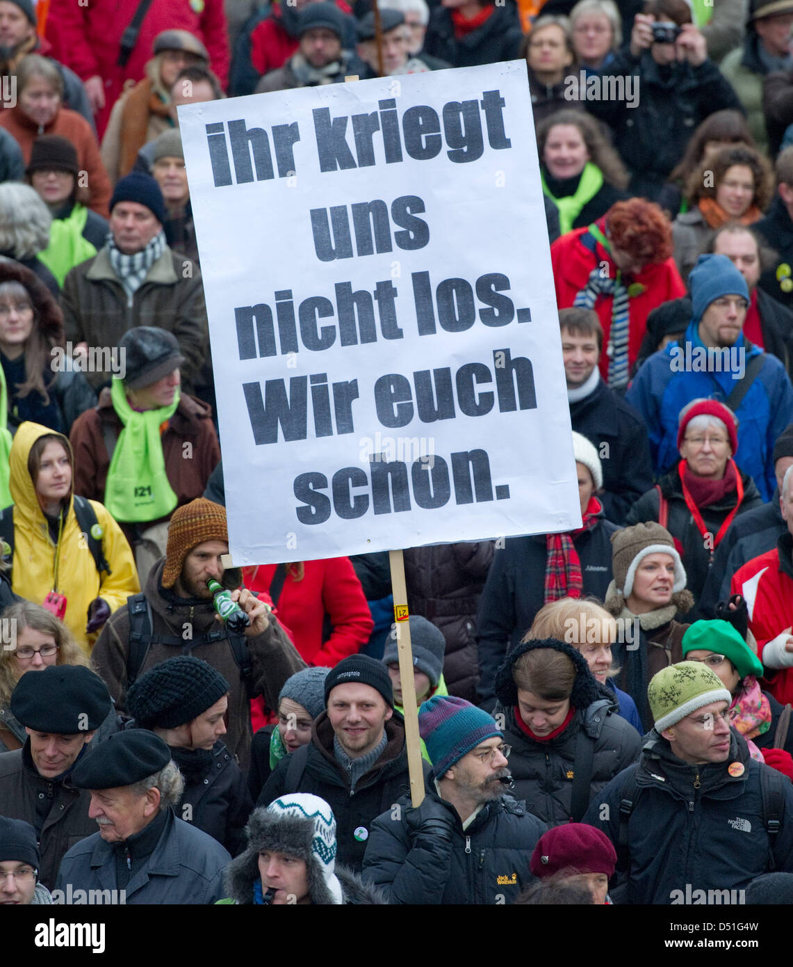 Several thousand people demonstrate with banners against the railway project 'Stuttgart 21' in Stuttgart, - Stock Image