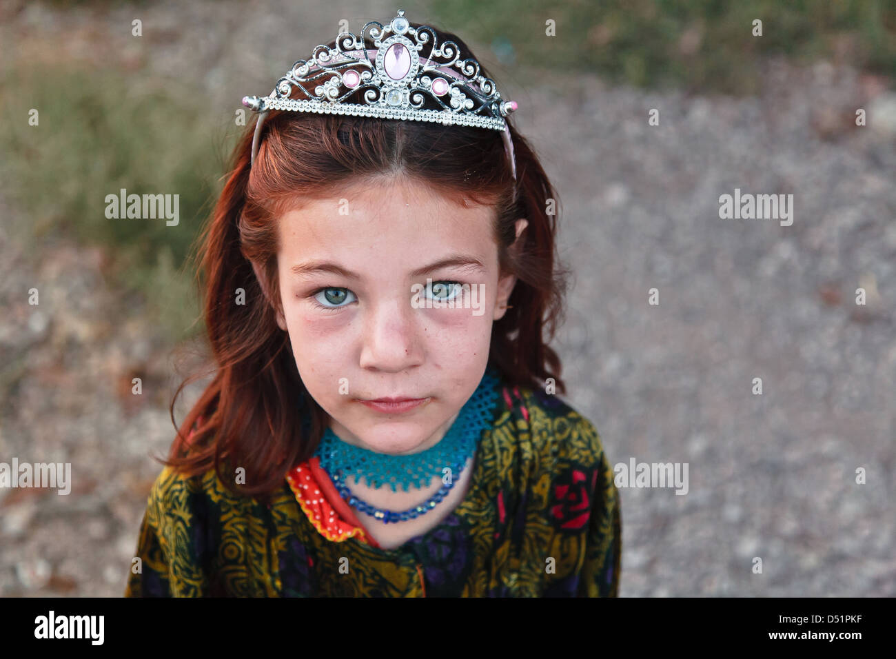 Afghan girl refugee in Iran - Stock Image