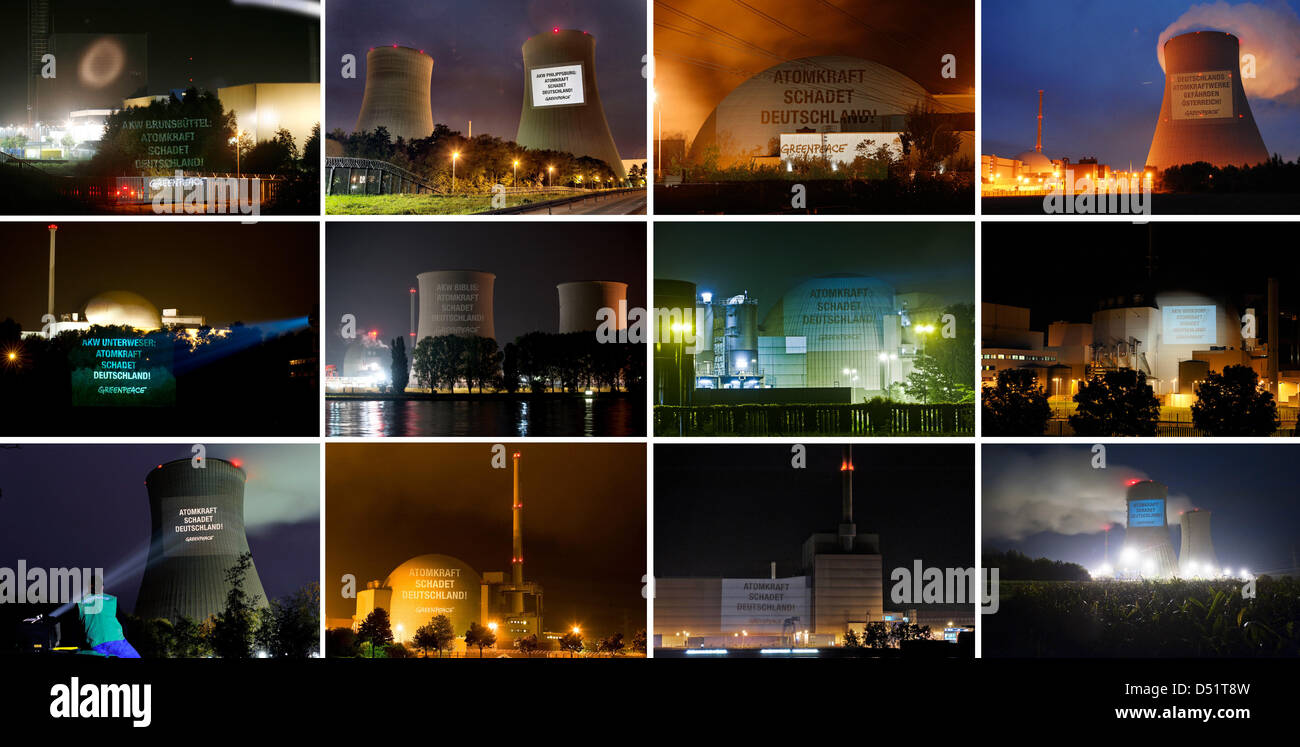 A picture combo made of Greenpeace handouts of all twelve nuclear power plants in Germany, 28 September 2010. (top - Stock Image