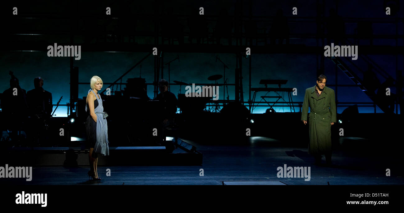 German actors Mavie Hoerbiger (L)and Jan Josef Liefers (R)pictured during dress rehearsal for 'Germany - Stock Image