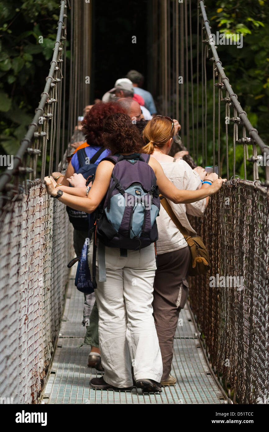 Tourists at Arenal Hanging Bridges where rainforest canopy is accessed via walkways; La Fortuna, Alajuela Province, - Stock Image