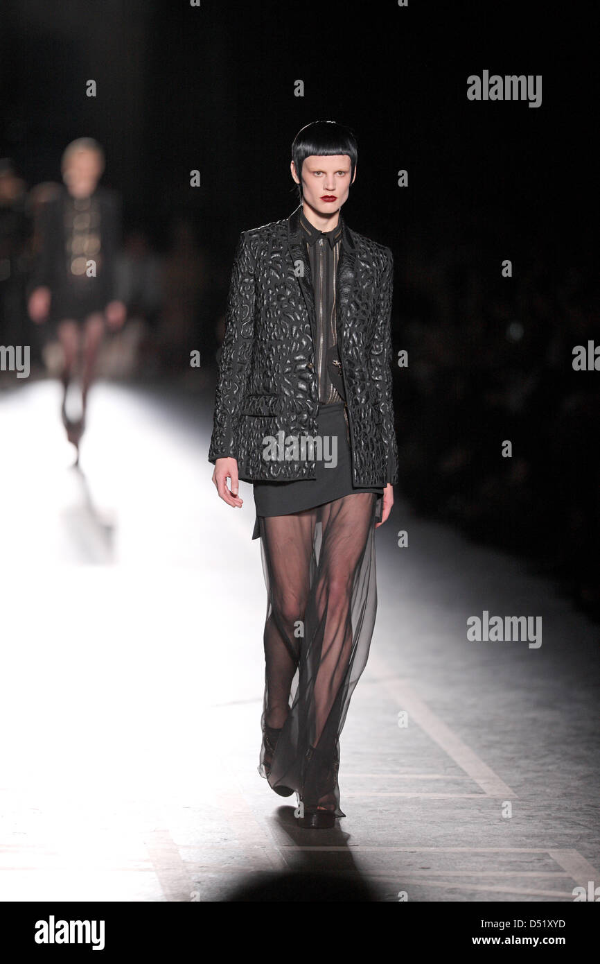 98aafa13ec52 A model presents a creation by Givenchy from the Spring Summer 2011  collection during the
