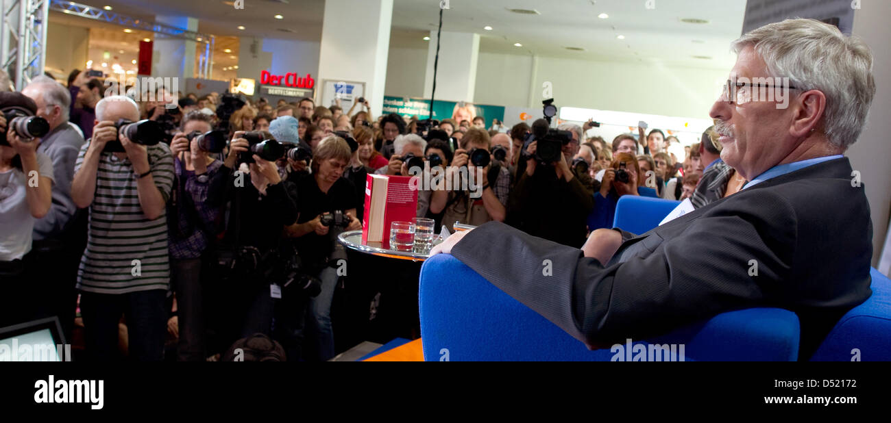 German publicist Thilo Sarazzin gives an intreview at the Book Fair in Frankfurt Main, Germany, 08 October 2010. - Stock Image