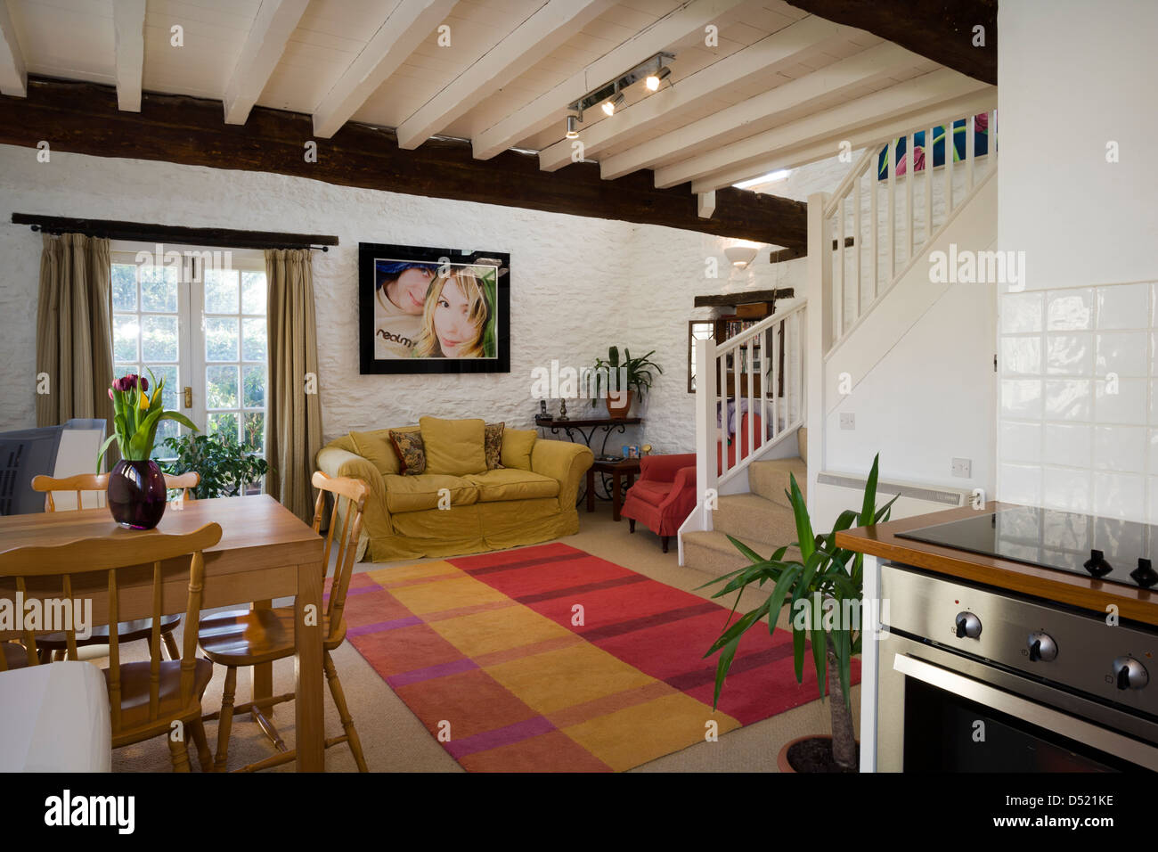 A contemporary open plan 39 granny flat 39 living dining room and stock photo 54749618 alamy for Open plan dining and living room