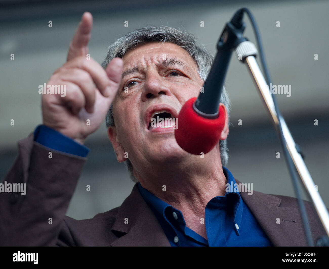 Social Democrats (SPD)parliamentarian and laureate of Alternative Nobel Prize, Hermann Scheer during a rally - Stock Image