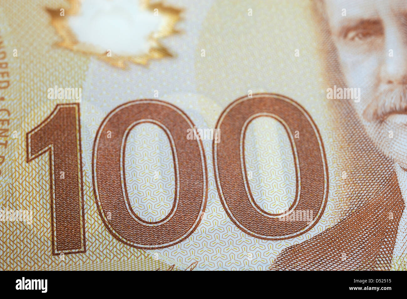 Canadian plastic one hundred dollar bill. - Stock Image