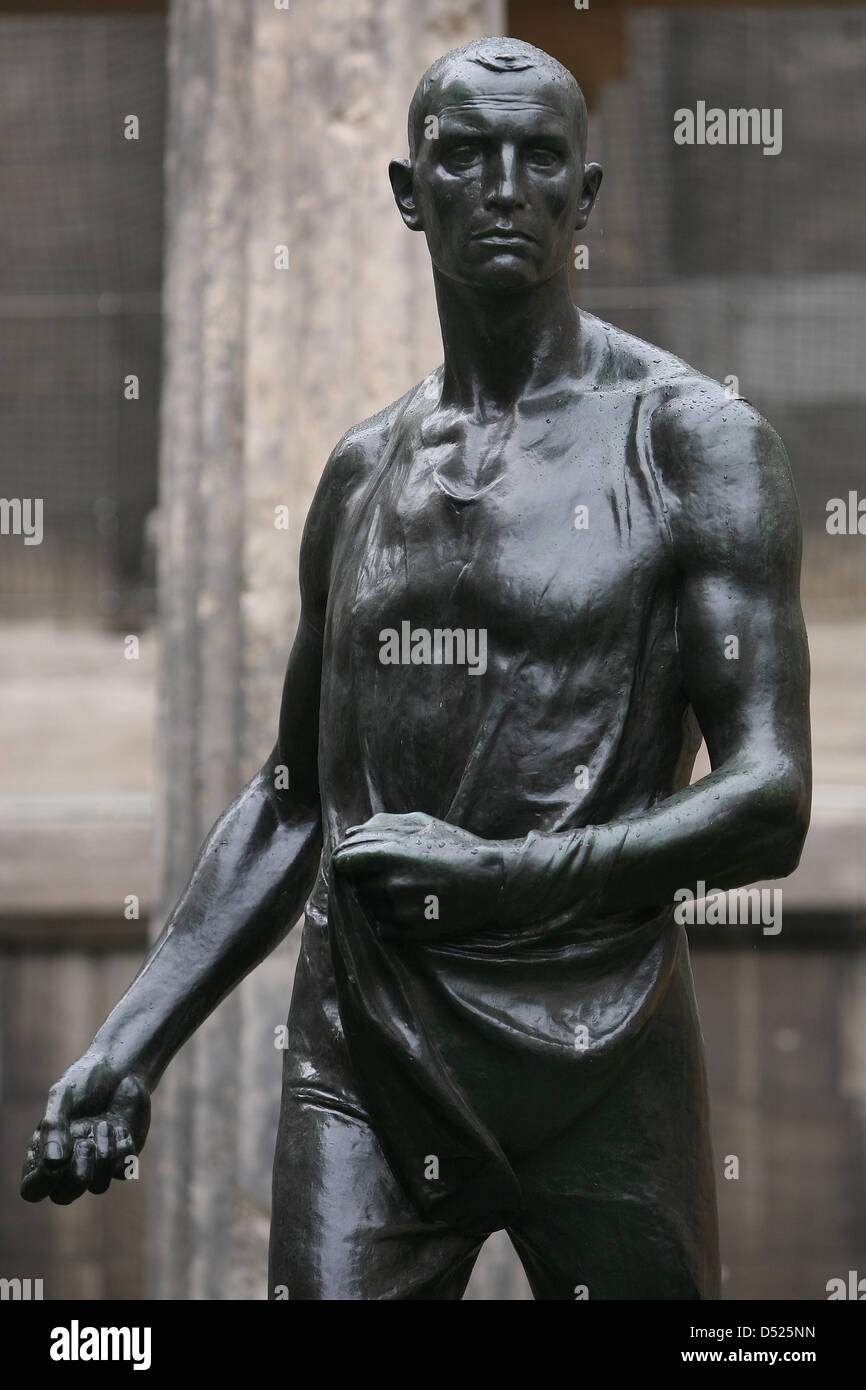 The bronze sculpture 'Saemann' (1896) by Belgian artist Constantin Meunier is on display at Kolonnadenhof in Berlin,Stock Photo