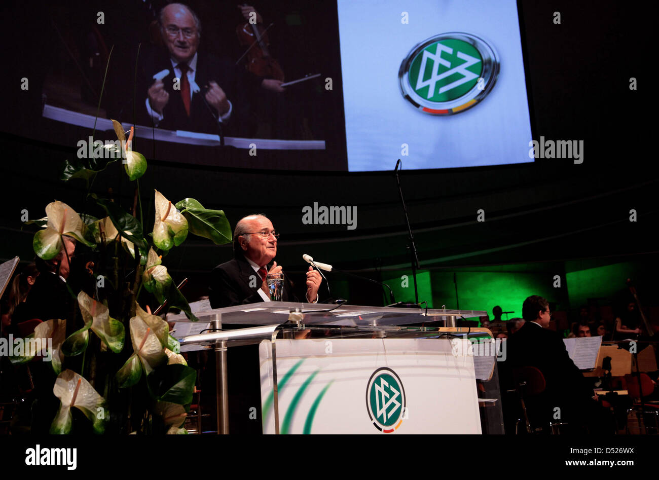 FIFA President Sepp Blatter delivers a speech to the general convention of German Football Association (DFB) in - Stock Image