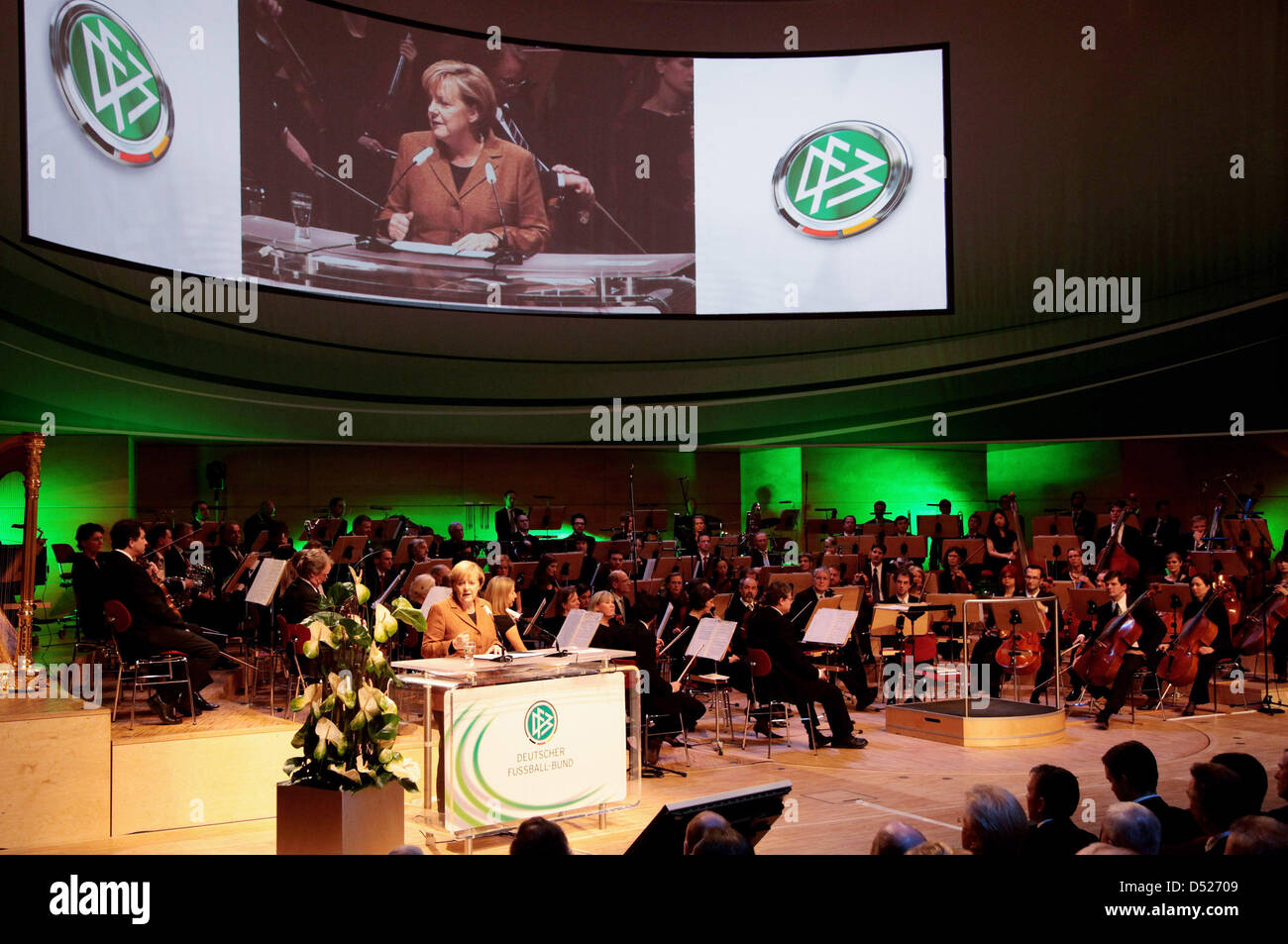 German Chancellor Angela Merkel delivers a speech to the general convention of German Football Association (DFB) - Stock Image