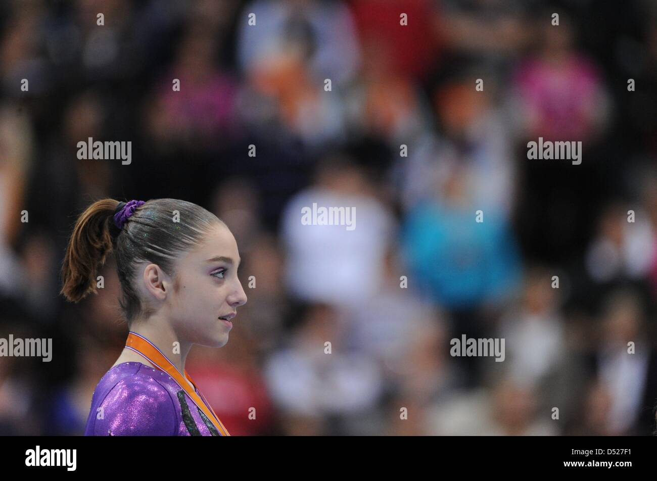 Gymnasts Alija Mustafina from Russia pictured during the award ceremony of the women's All-round-finale of the - Stock Image