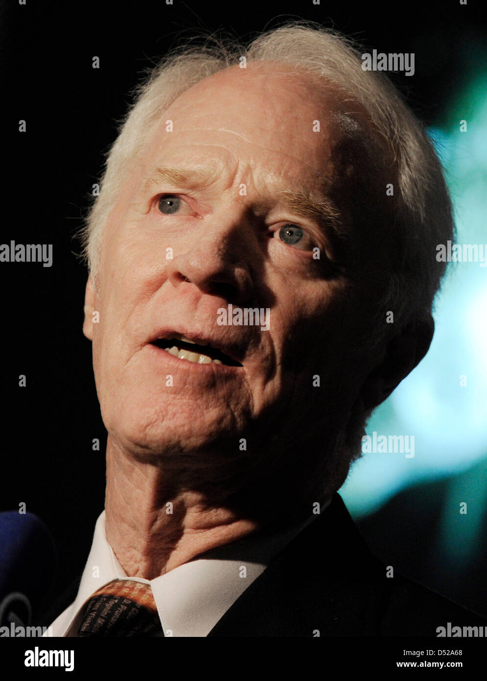 Former US astronaut on board of the space shuttle Apollo 9, Rusty Schweickart, attends the ESA European Space Agency - Stock Image