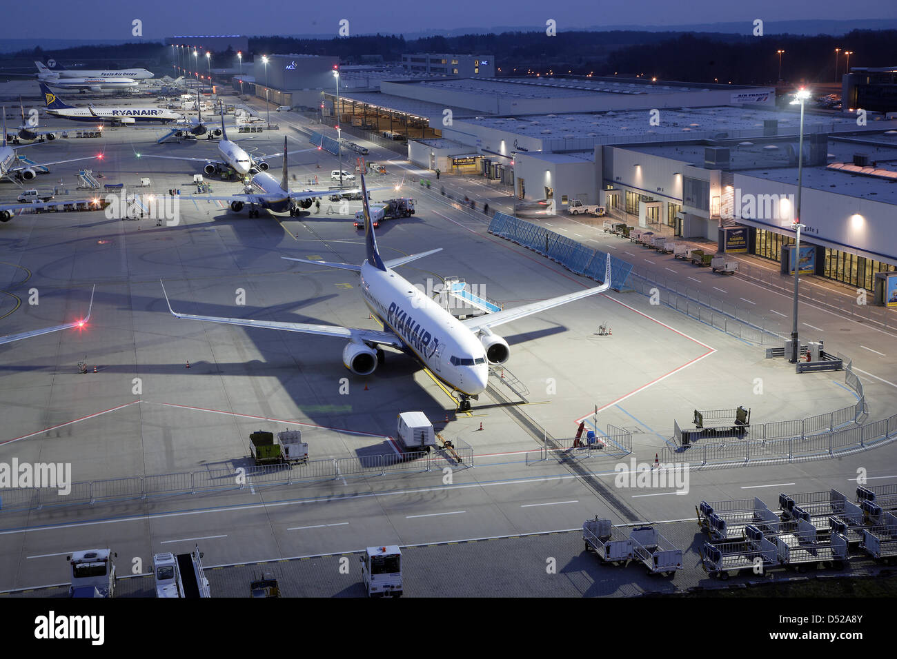 A file picture dated 22 April 2008 shows a plane owned by the Irish company Ryanair on the airport of Frankfurt - Stock Image