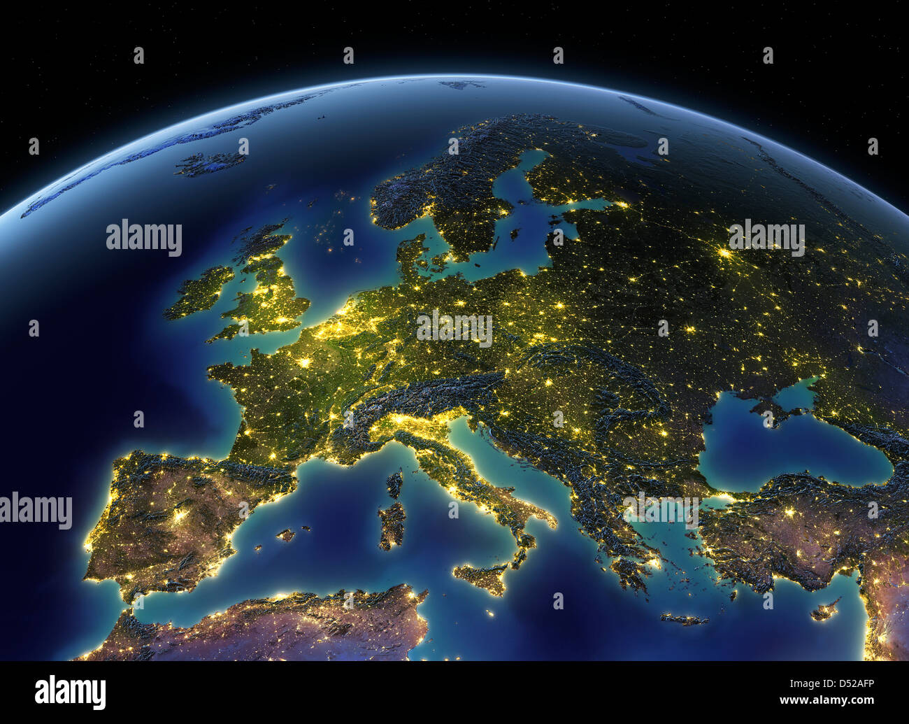 Night Lights on Earth, Europe - Stock Image