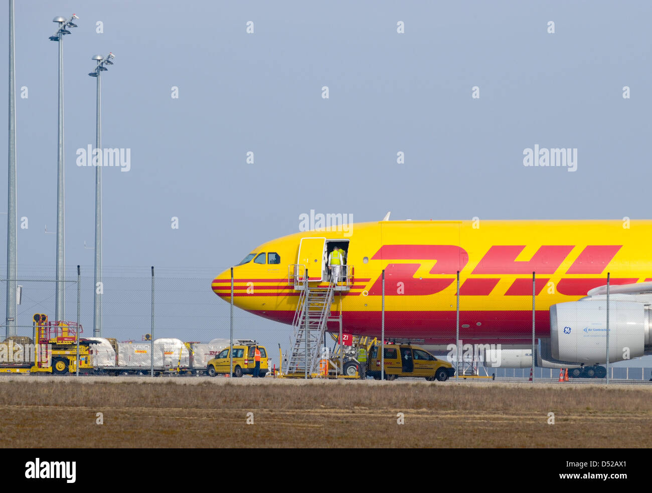 dhl cargo planes are situated at the airport in leipzig halle stock photo 54756857 alamy. Black Bedroom Furniture Sets. Home Design Ideas