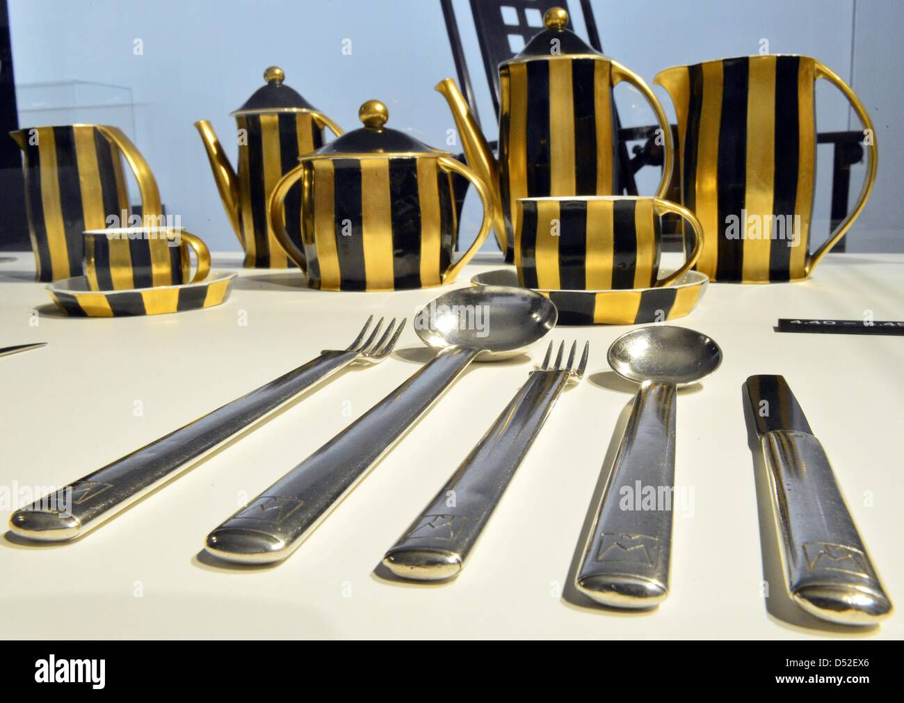 Cutlery from around 1906 and the coffe and mocha set 'Merkur' from 1910 are on display at the exhibition - Stock Image
