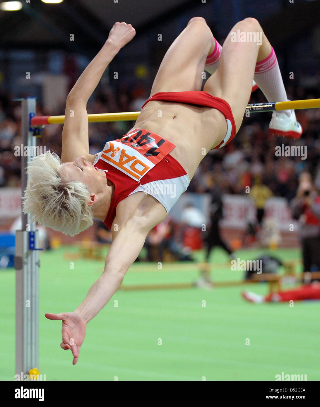 Ariane Friedrich shown in action during the women's high jump event at the German Indoor Athletics Championships - Stock Image