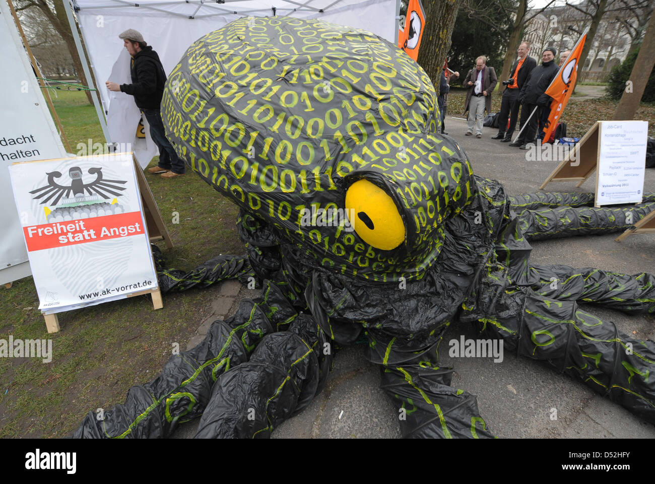 Activists protest with a so-called data octopi in front of the Federal Constitutional Court prior to the sentencing - Stock Image