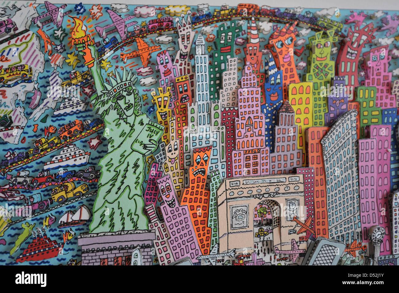 Das Foto zeigt eine Ausschnitt aus dem James Rizzi Werk 'All Roads Lead To New York City', das bei einer - Stock Image