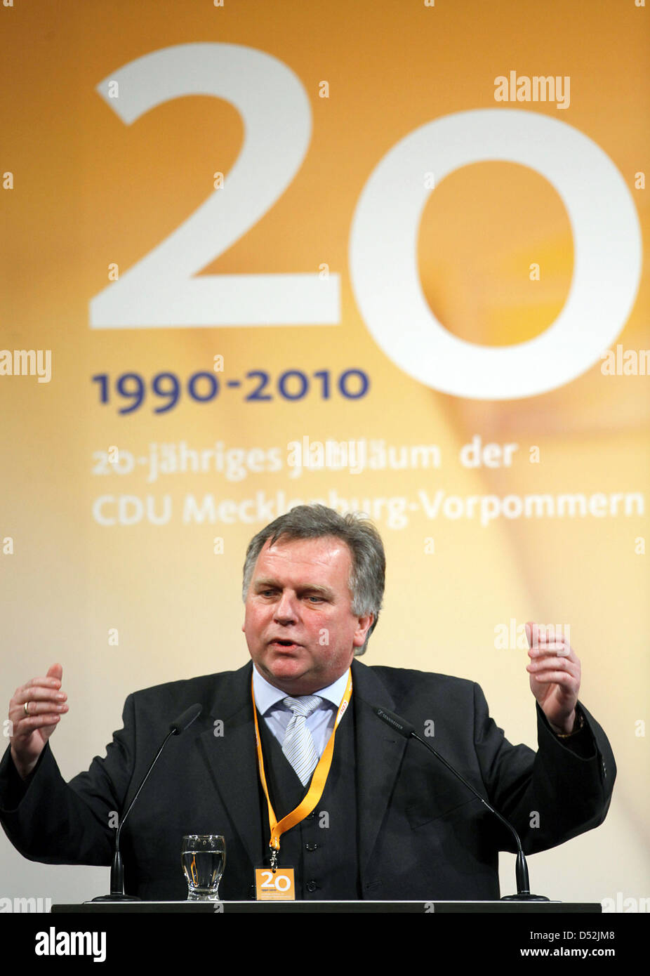 Former German Federal Minister of Transport Guenther Krause of CDU (Christian Democratic Union) gives a speech during - Stock Image