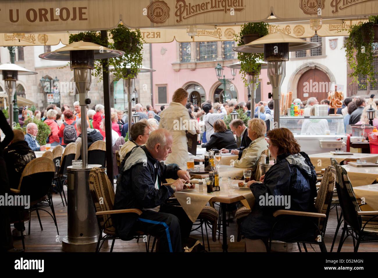 Prague restaurant, Czech Republic - Stock Image