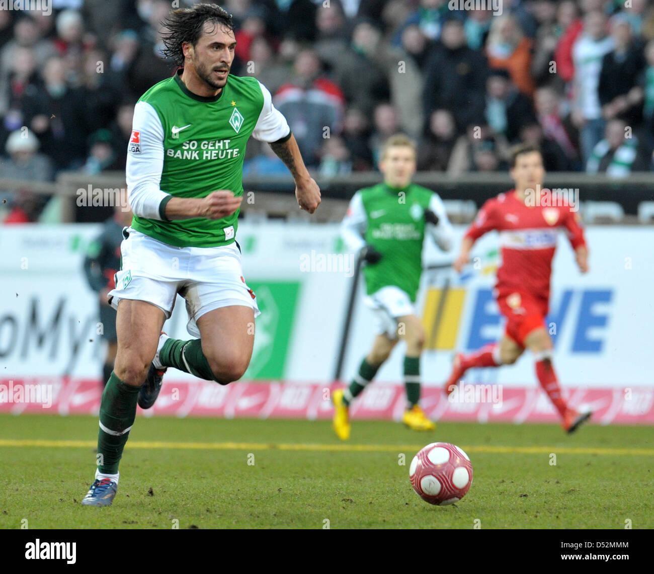 Fu§ball Bundesliga 25. Spieltag: Werder Bremen - VfB Stuttgart am Samstag (06.03.2010) im Weserstadion in Bremen. - Stock Image