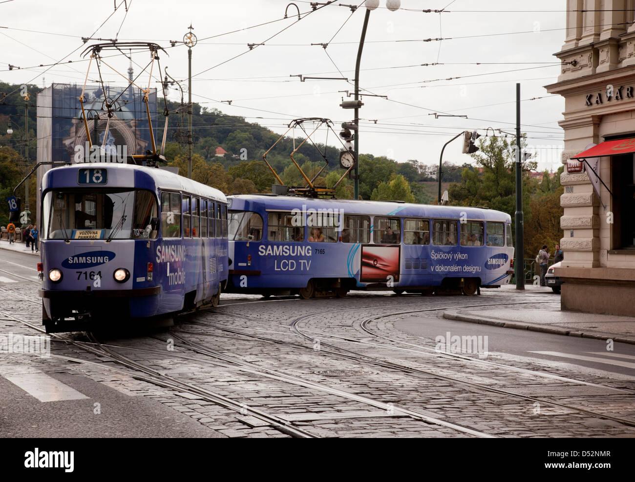 BlueTram No. 18,  Prague, Czech Republic - Stock Image