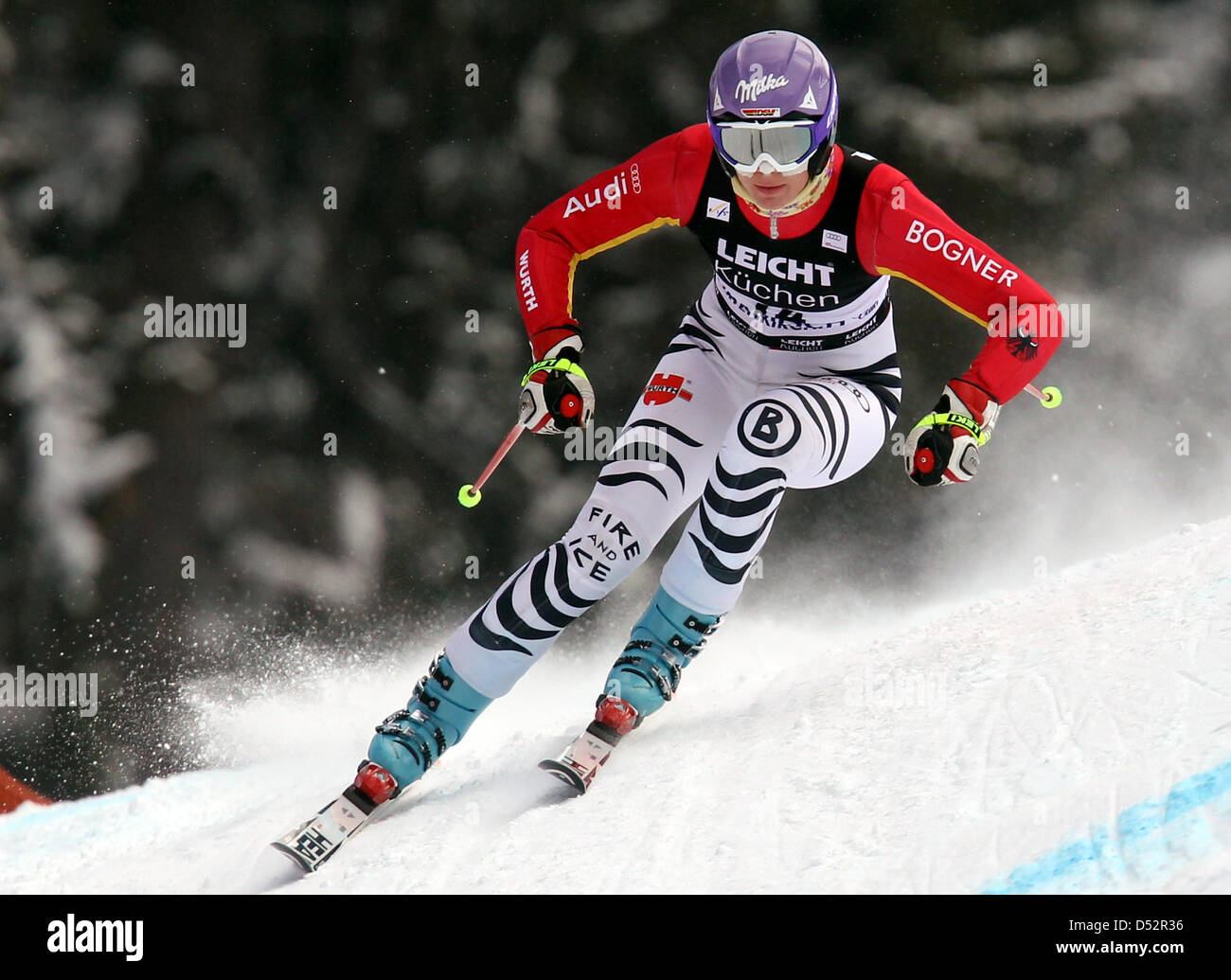 German Maria Riesch pictured during the downhill training for the final of the Skiing World Cup 2010 at the Kandahar - Stock Image