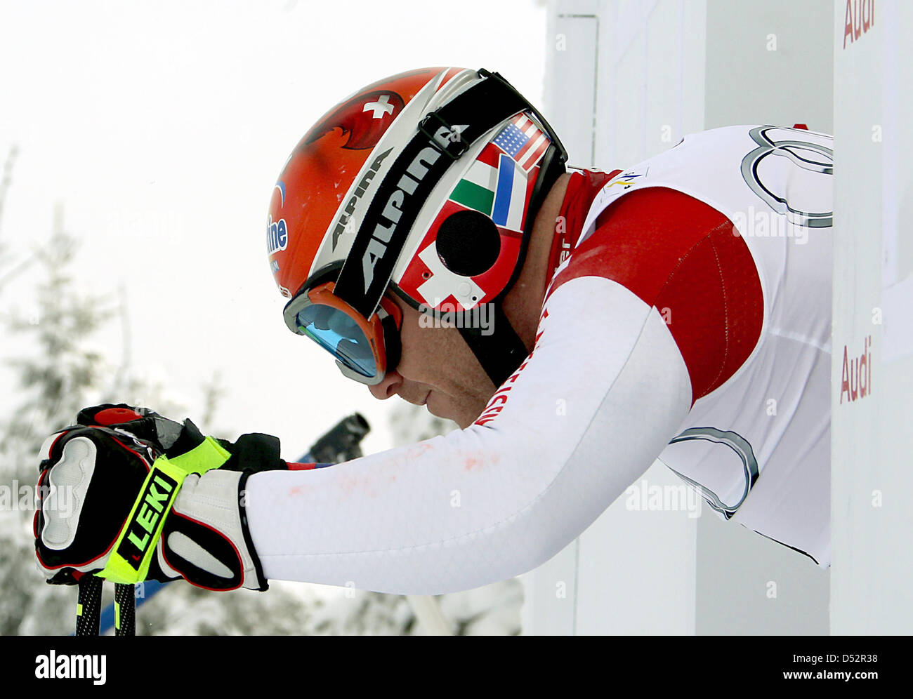 Swiss Didier Cuche pictured during the downhill training for the final of the Skiing World Cup 2010 at the Kandahar - Stock Image
