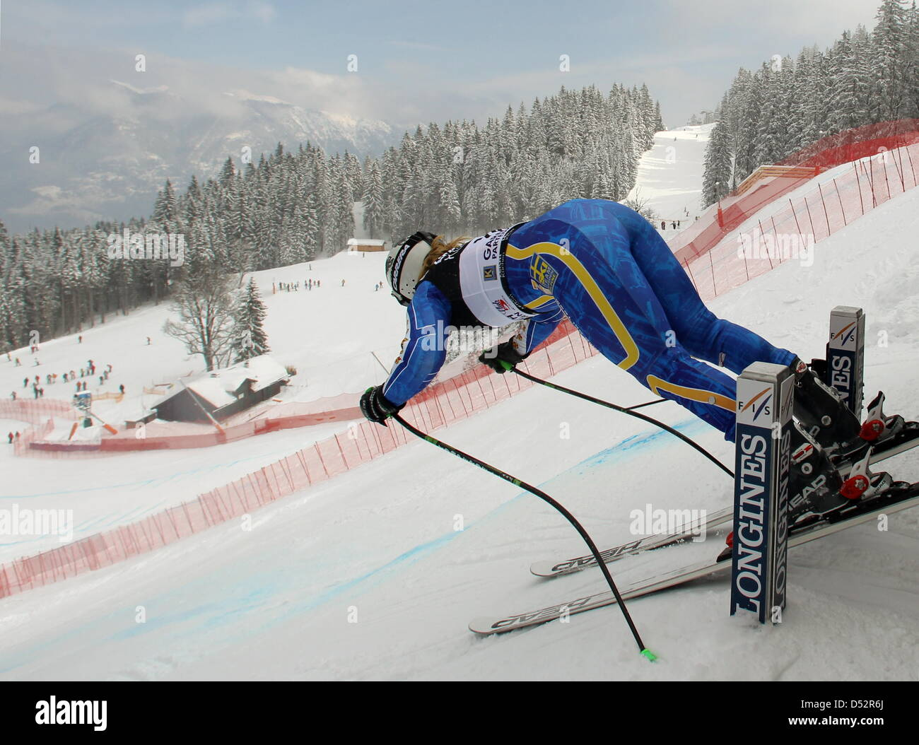 Swedish Anja Paerson pictured during the downhill training for the final of the Skiing World Cup 2010 at the Kandahar - Stock Image