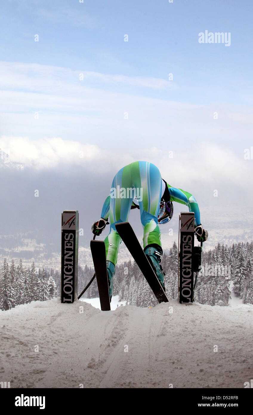 Slovene Tina Maze pictured during the downhill training for the final of the Skiing World Cup 2010 at the Kandahar - Stock Image