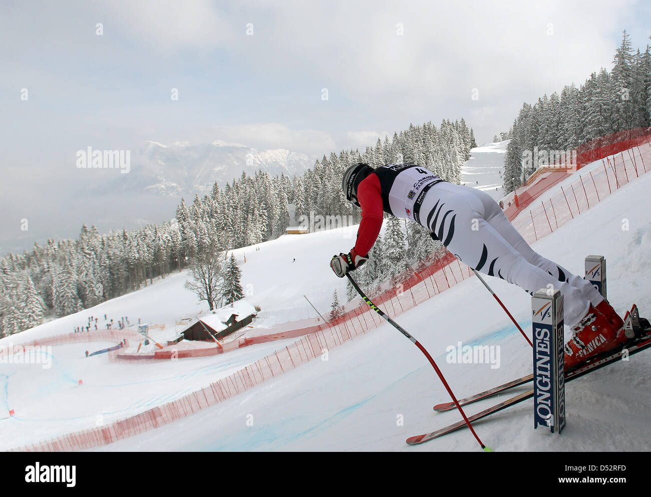German Gina Stechert pictured during the downhill training for the final of the Skiing World Cup 2010 at the Kandahar - Stock Image