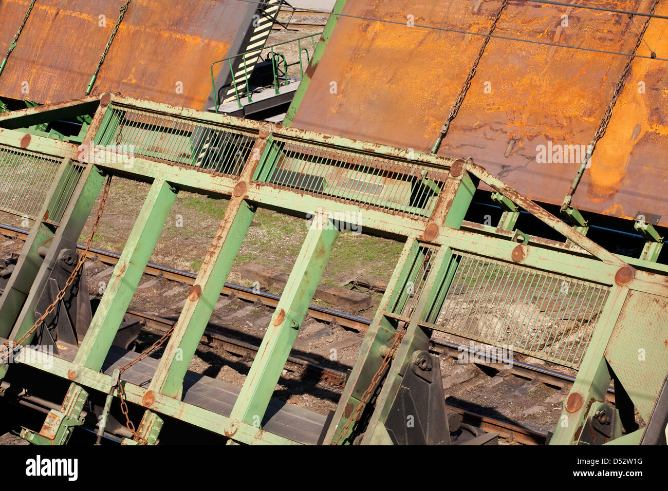 railway carriage transport special plates - Stock Image