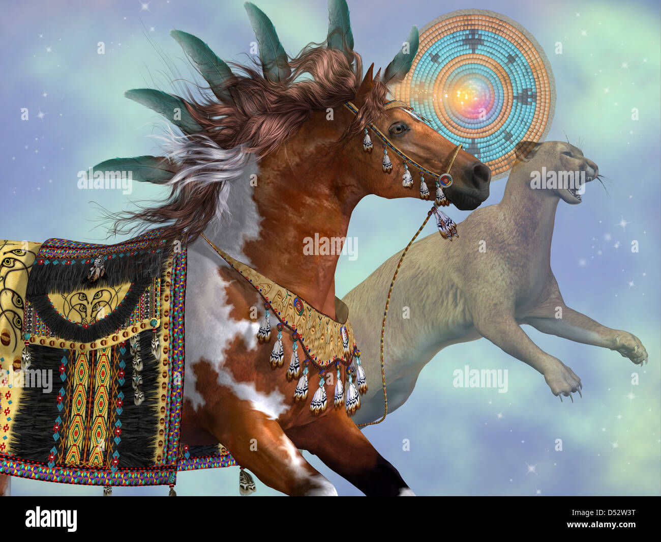 A Paint Horse And A Cougar Cat Are Symbols Of American Indian Stock