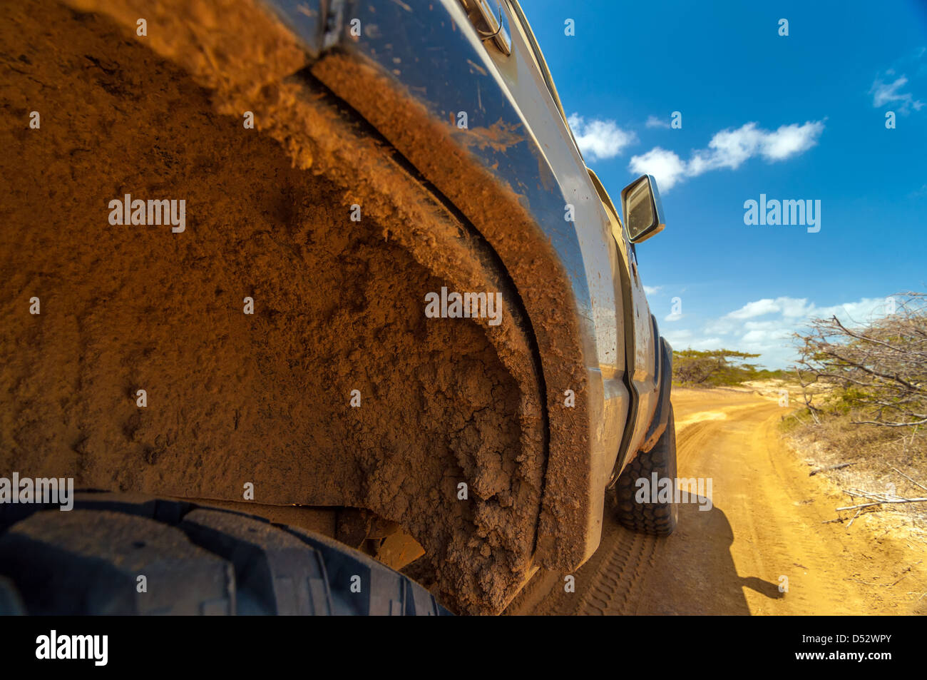 Muddy dirty wheel well on an SUV in a desert - Stock Image