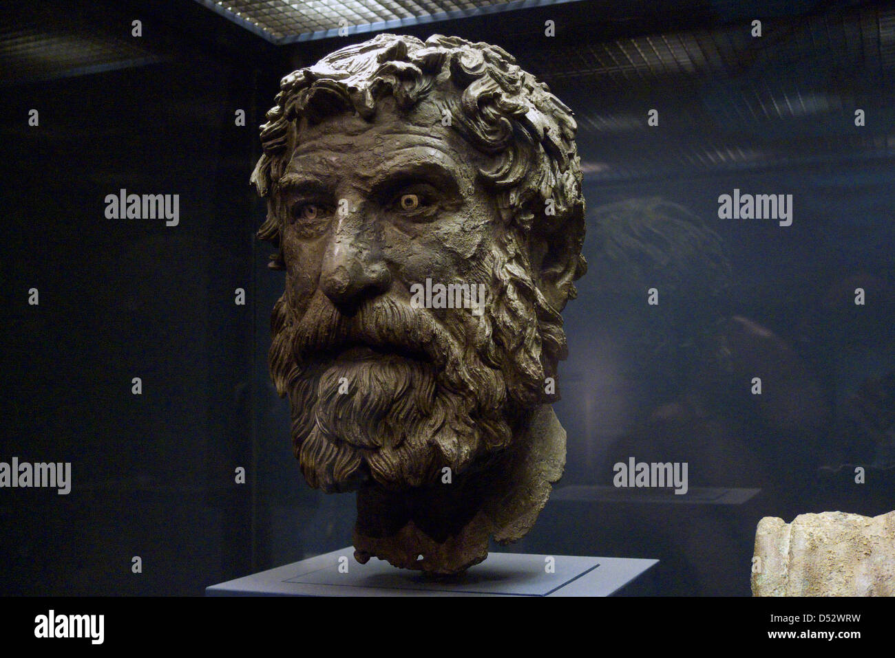 greece attica athens national archaeological museum the antikythera shipwreck exhibition the head of a philosopher - Stock Image