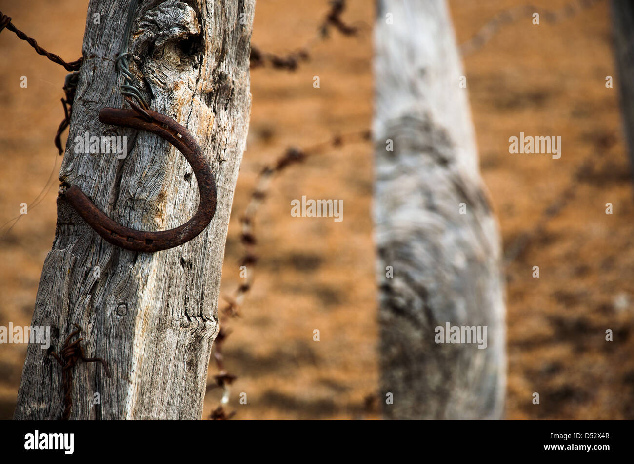 An old rusty horseshoe on a weathered fence post - Stock Image