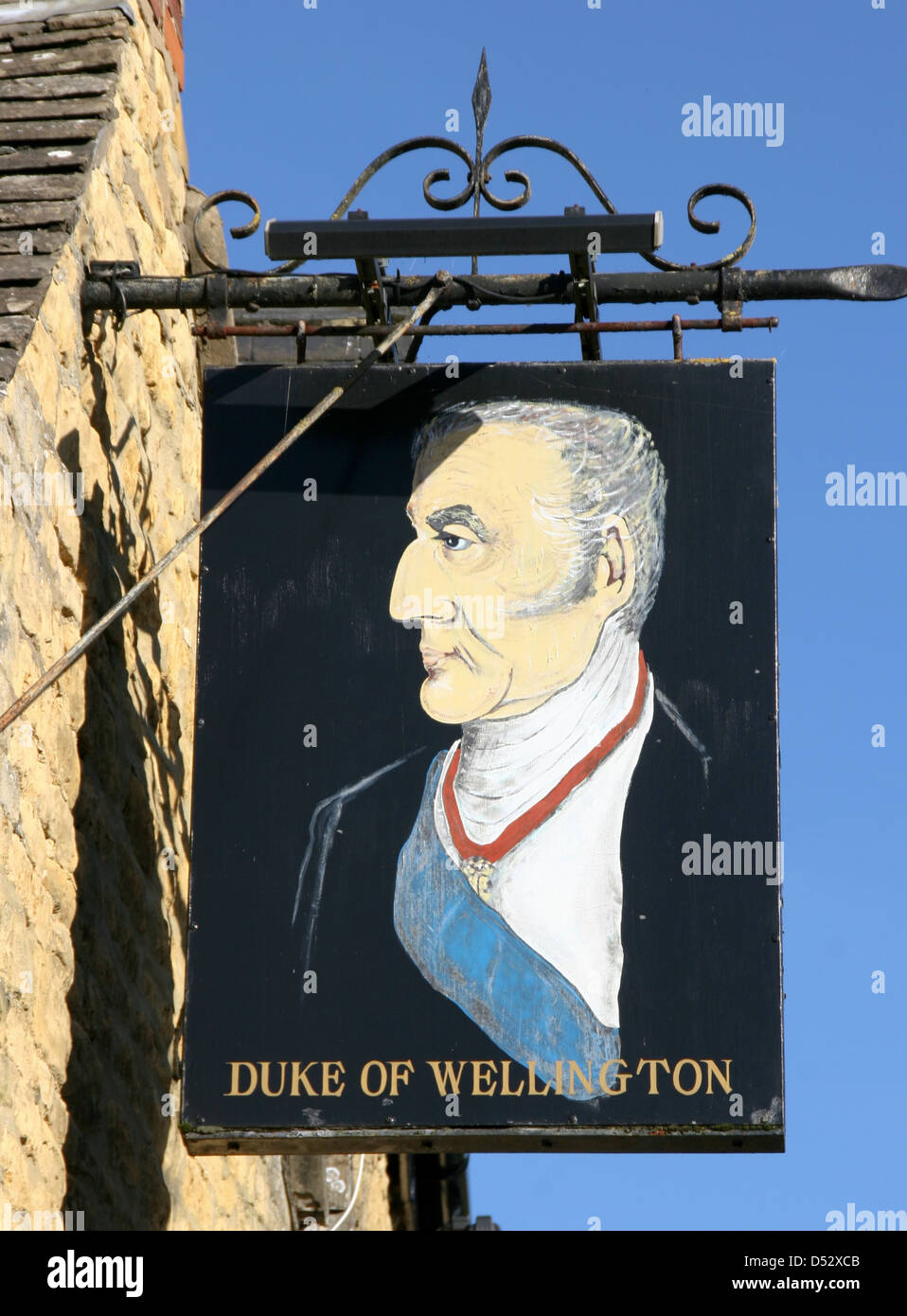 Duke of Wellington inn sign Bourton on the Water Gloucestershire England U - Stock Image
