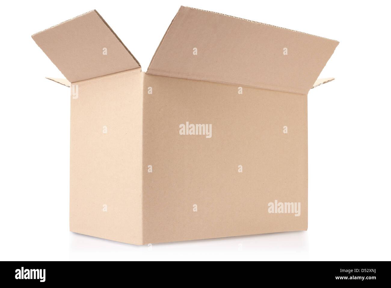 Cardboard box opened on white - Stock Image