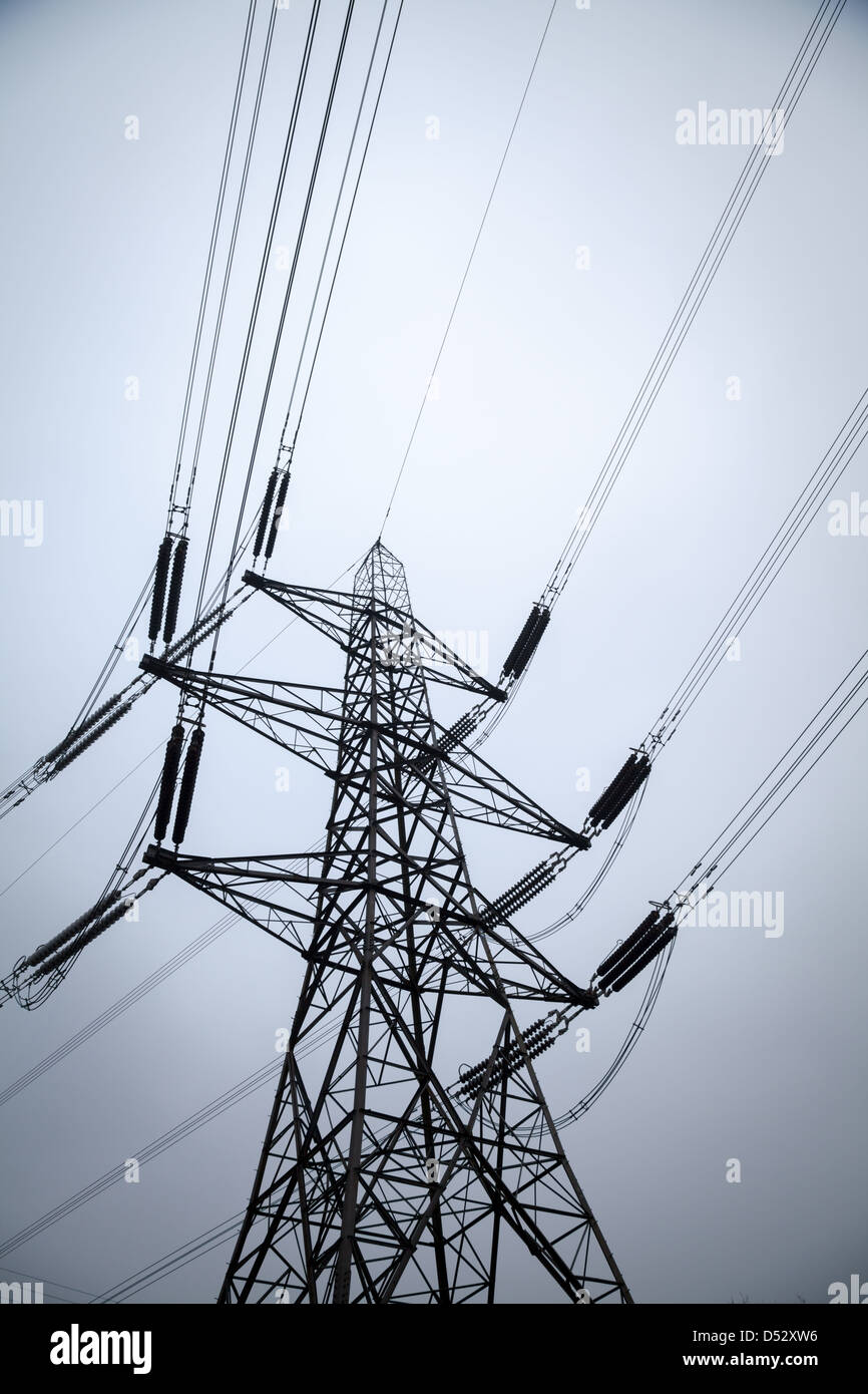 An electricity pylon at Didcot A power station in Oxfordshire - Stock Image