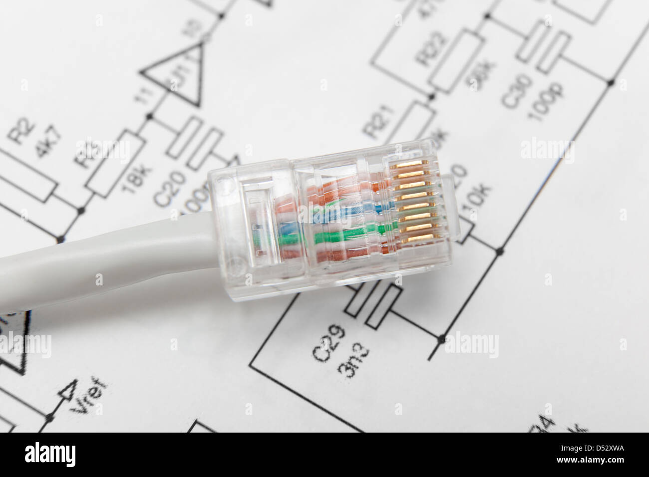 Computer Network Cable Rj45 Stock Photo 54769382 Alamy Basic Components Diagram Related