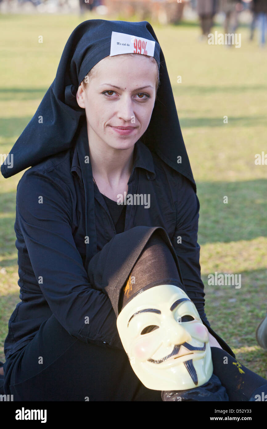 Berlin, Germany, Anhaengerin the Occupy movement demonstrates in downtown - Stock Image