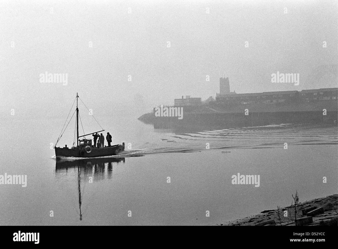 fishing boat out from widnes river mersey.photographed in 1980 - Stock Image