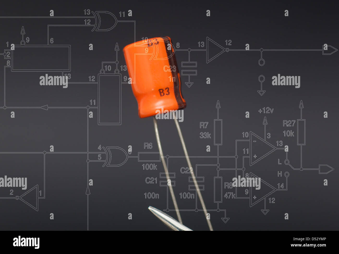 Glass On The Electronic Schematic Diagramideal Technology Background Component Diagram Stock Photos Images Alamy Detail Of Capacitor In Black Image