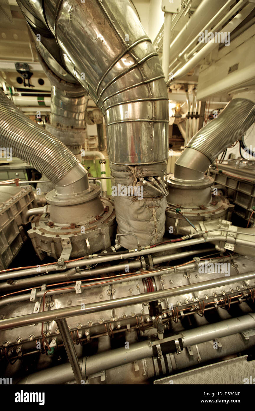 Hamburg, Germany, the engine in the engine room of the ship John T. Essberger - Stock Image