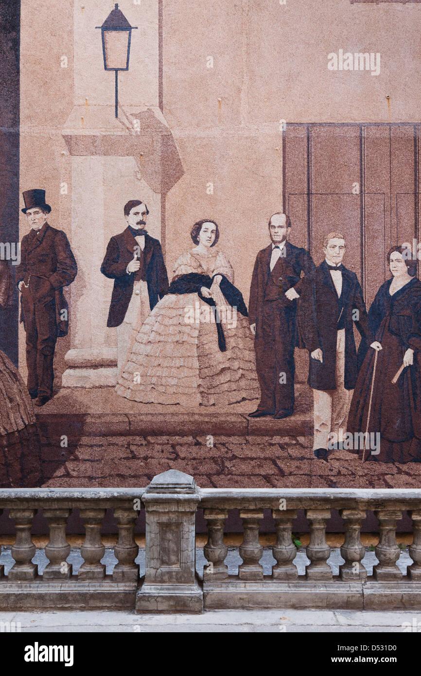 Cuba, Havana, Havana Vieja, Mercaderes Street, Cuban History Mural - Stock Image