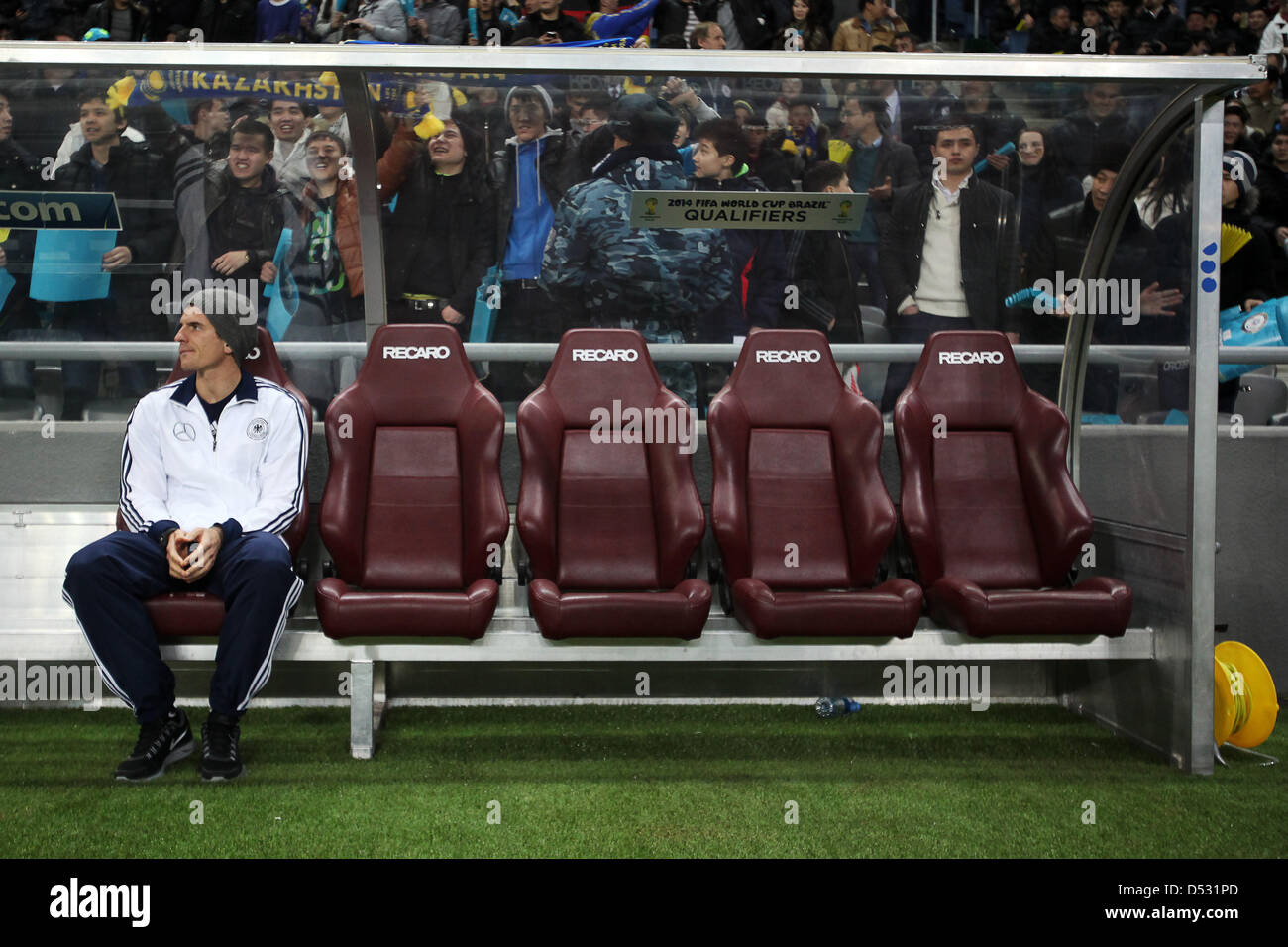 Astana, Kazakhstan. 22nd March 2013. Germany's Mario Gomez sits on the bench during the FIFA World Cup 2014 - Stock Image