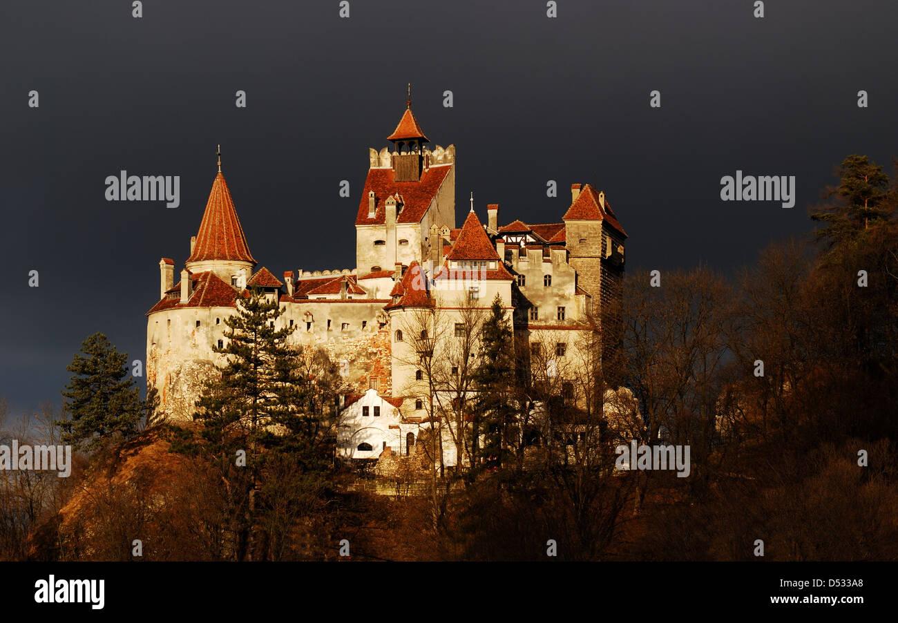Medieval Bran castle in Transylvania, Romania, known for Dracula story. - Stock Image