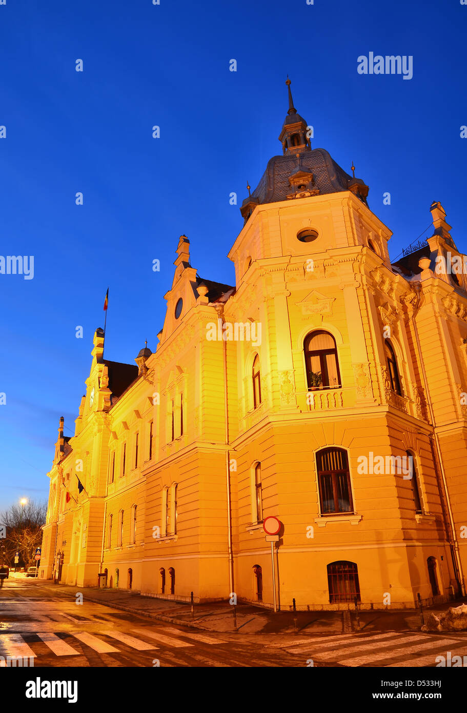 The cityhall of Brasov was built in XIXth century in Baroque Revival architecture style Stock Photo